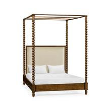 See Details - Four Poster Warm Chestnut US King Daybed, Upholstered in MAZO