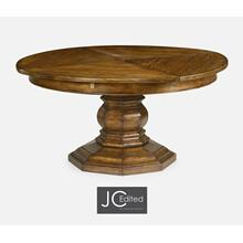 "59"" Country Walnut Circular Dining Table with Self-Storing Leaves"