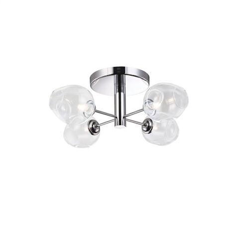 4lt Semi Flush, PC Finish W/ Clear Glass