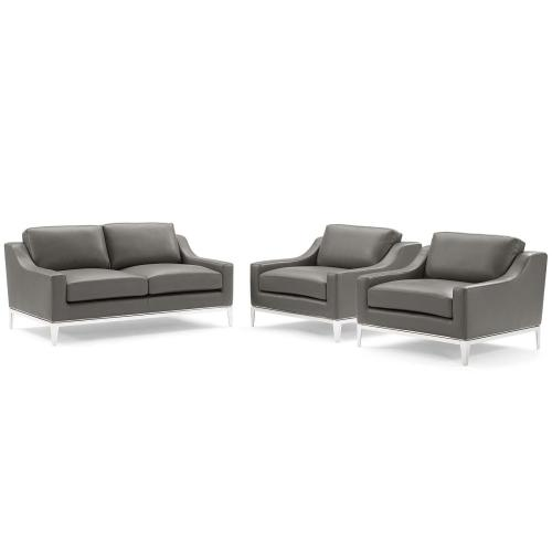 Modway - Harness 3 Piece Stainless Steel Base Leather Set in Gray