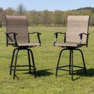"30"" All-Weather Patio Swivel Outdoor Stools, Brown, Set of 2 Product Image"
