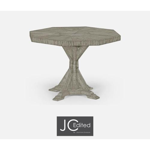 Otagonal centre or dining table in rustic grey