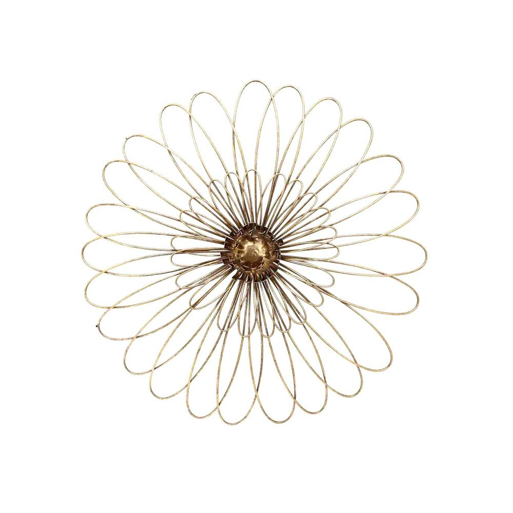 """See Details - Gold Metal Daisy Wall Flower Wb 19.5"""""""
