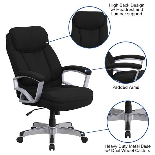 Gallery - HERCULES Series Big & Tall 500 lb. Rated Black Fabric Executive Swivel Ergonomic Office Chair with Arms