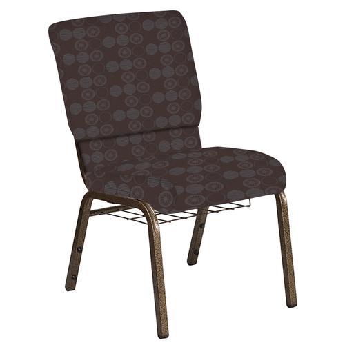 Flash Furniture - 18.5''W Church Chair in Galaxy Mocha Fabric with Book Rack - Gold Vein Frame