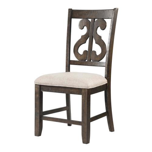 Stone Wooden Swirl Back Side Chair Set