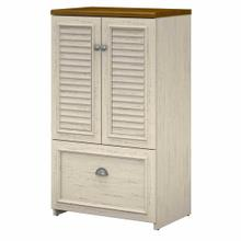 See Details - Shoe Storage Cabinet with Doors, Antique White/Tea Maple