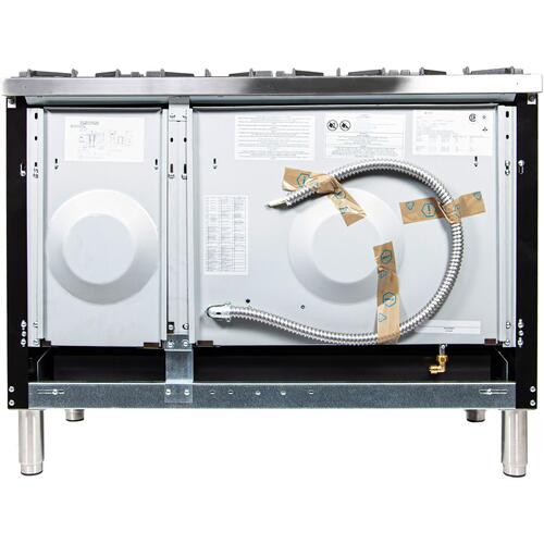 Nostalgie 48 Inch Dual Fuel Liquid Propane Freestanding Range in Glossy Black with Chrome Trim