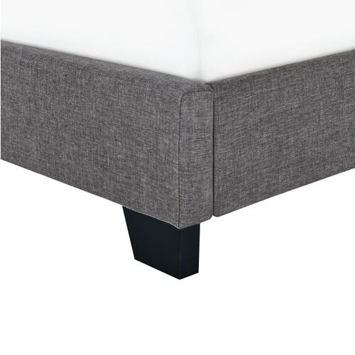 Clipped Corner Twin Upholstered Bed in Stone Gray