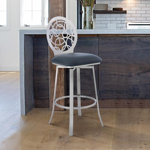 "Lotus Contemporary 26"" Counter Height Barstool in Brushed Stainless Steel Finish and Grey Faux Leather"