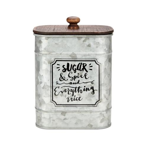 Marie Decorative Metal Jars with Wooden Lids - Ast 3