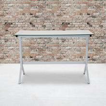 See Details - Winfield Collection Glass Computer Desk with White Metal Frame