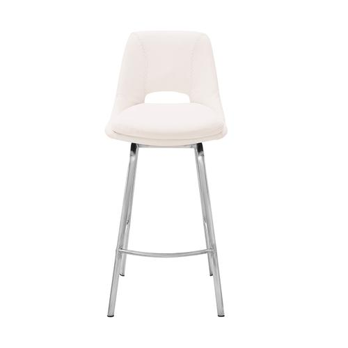 """Armen Living - Carise White Faux Leather and Brushed Stainless Steel Swivel 30"""" Bar Stool"""