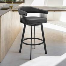 """View Product - Chelsea 30"""" Bar Height Swivel Bar Stool in Black Finish and Black Faux Leather"""