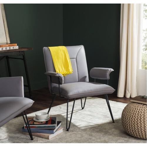 "Johannes 17.3""H Mid Century Modern Leather Arm Chair - Grey / Black"