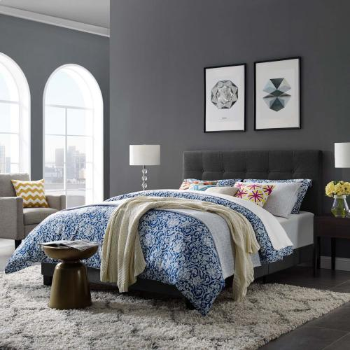 Amira King Upholstered Fabric Bed in Gray