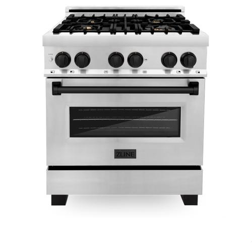 """Zline Kitchen and Bath - ZLINE Autograph Edition 30"""" 4.0 cu. ft. Dual Fuel Range with Gas Stove and Electric Oven in Stainless Steel with Accents (RAZ-30) [Color: Champagne Bronze]"""