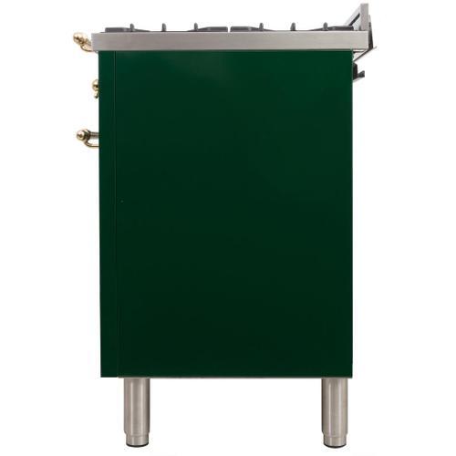 Nostalgie 24 Inch Dual Fuel Natural Gas Freestanding Range in Emerald Green with Brass Trim