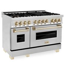 """View Product - ZLINE Autograph Edition 48"""" 6.0 cu. ft. Dual Fuel Range with Gas Stove and Electric Oven in Stainless Steel with Accents (RAZ-48) [Color: Gold]"""