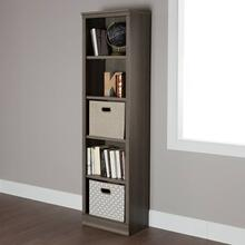 5-Shelf Narrow Bookcase - Gray Maple