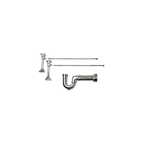 Lavatory Supply Kit w/ Massachusetts P-Trap - Angle Sweat - Cross Handle - Brushed Rose Bronze