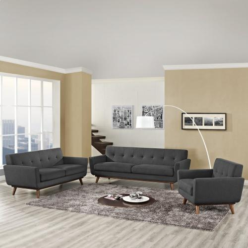 Modway - Engage Sofa Loveseat and Armchair Set of 3 in Gray