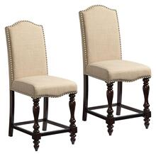 View Product - McGregor 2-Pack Beige Upholstered Counter Height Chair