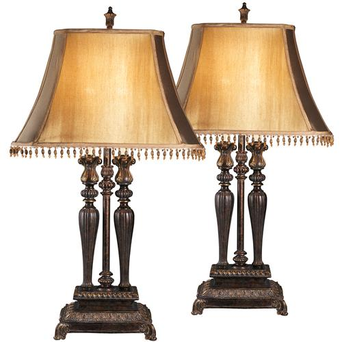 Exceptional Designs by Flash Desana Dark Brown and Gold Poly Table Lamp, Set of 2