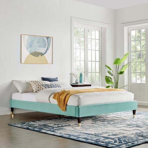 Harlow King Performance Velvet Platform Bed Frame in Mint
