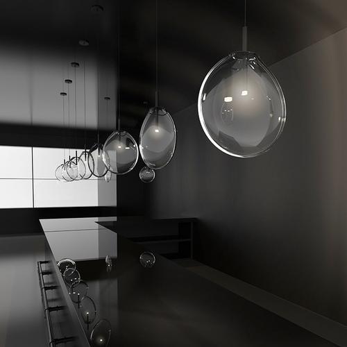 Sonneman - A Way of Light - Cantina LED Pendant [Size=6-Light Tri-Spreader, Color/Finish=Satin Black w/Smoke Fade Glass]