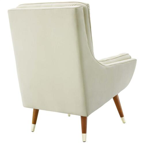 Modway - Suggest Button Tufted Performance Velvet Lounge Chair in Ivory