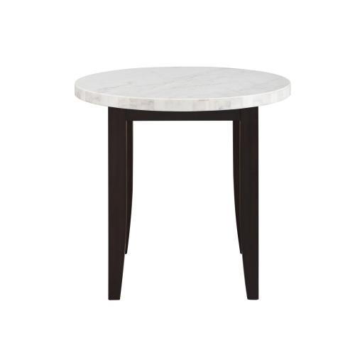 Francis 3 Piece 40-inch Round White Marble Top Counter(Counter Table & 2 Counter Chairs)