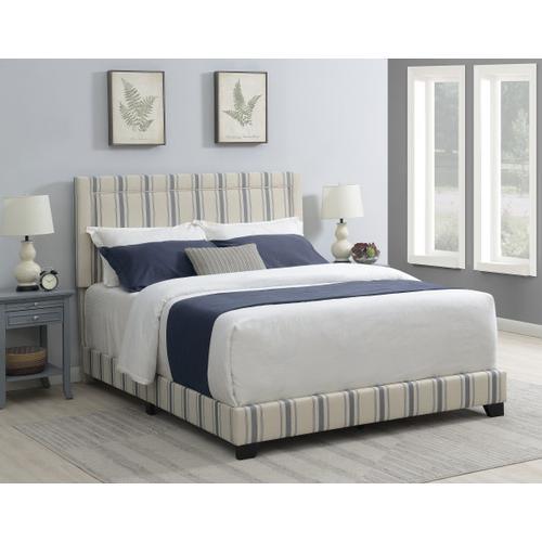 Nailhead Trim Upholstered King Bed in Cambridge Blue Stripe