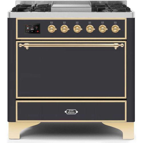 Gallery - Majestic II 36 Inch Dual Fuel Natural Gas Freestanding Range in Matte Graphite with Brass Trim