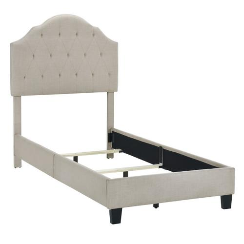 Scalloped Tufted Twin Upholstered Bed in Soft Beige