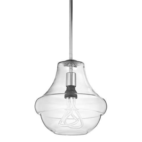 """Everly 10.25"""" 1 Light Schoolhouse Pendant Clear Glass Chrome"""
