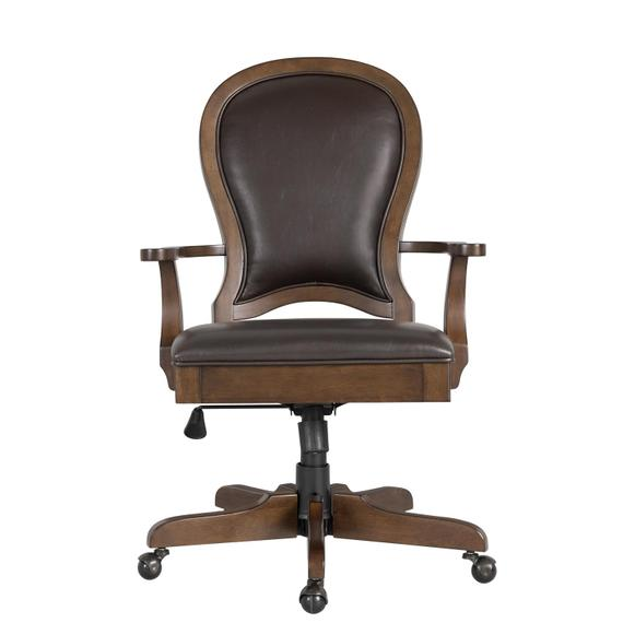 Riverside - Clinton Hill - Leather Desk Chair - Classic Cherry Finish