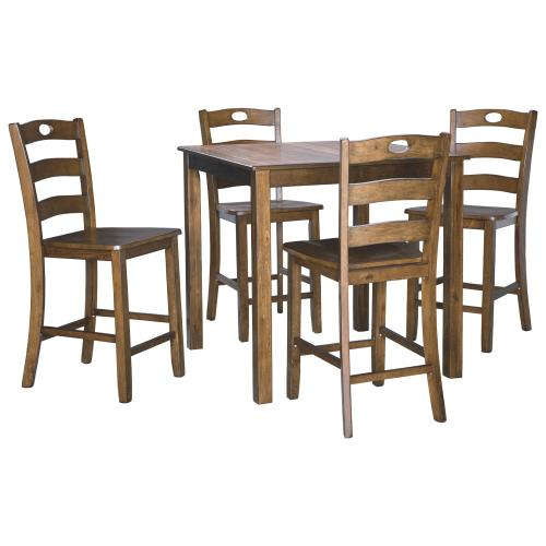 Hazelteen Counter Height Dining Room Table and Bar Stools (set of 5)