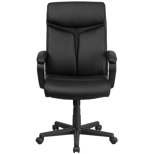 Gallery - High Back Black LeatherSoft Executive Swivel Office Chair with Slight Mesh Accent and Arms