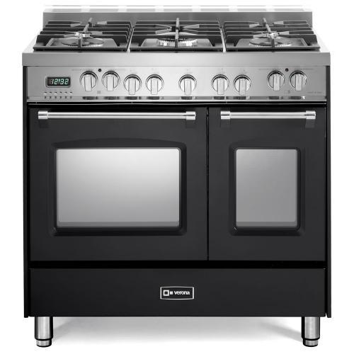"Matte Black 36"" Prestige Dual Fuel Double Oven Range"
