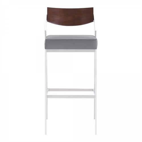 """Dakota Mid-Century 30"""" bar Height Barstool in Brushed Stainless Steel with Grey Faux Leather and Walnut Wood Finish Back"""