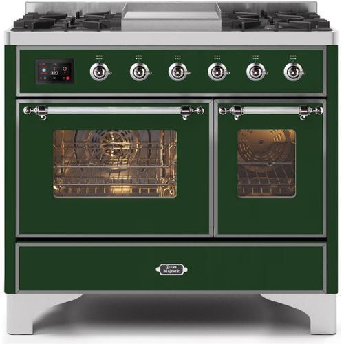 Majestic II 40 Inch Dual Fuel Liquid Propane Freestanding Range in Emerald Green with Chrome Trim