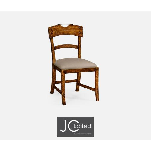 Country walnut side chair with upholstered seat