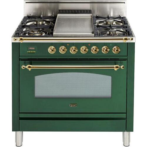 Ilve - Nostalgie 36 Inch Gas Natural Gas Freestanding Range in Emerald Green with Brass Trim