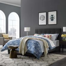 View Product - Amira Queen Upholstered Fabric Bed in Gray