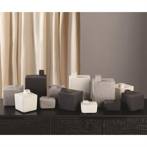 Square Chimney Vase-White-Mini