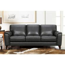"""See Details - Bergen 87"""" Pewter Genuine Leather Square Arm Sofa"""