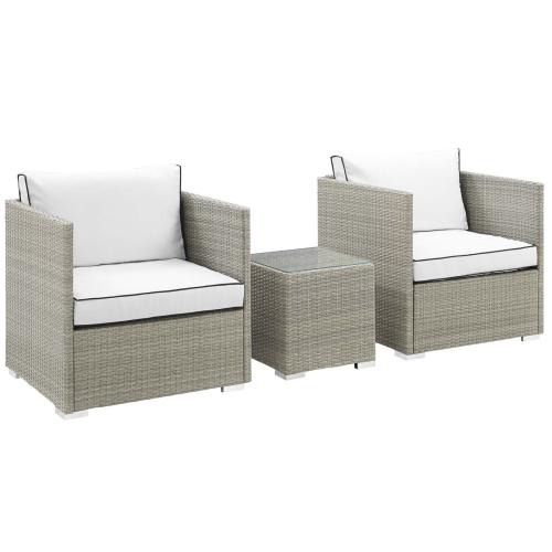 Modway - Repose 3 Piece Outdoor Patio Sectional Set in Light Gray White