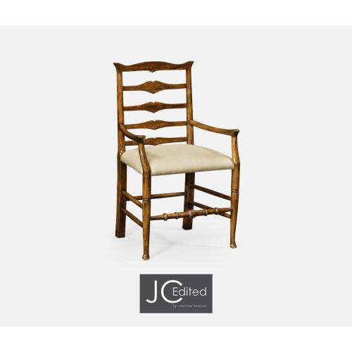 Country Walnut Ladder Back Arm Chair, Upholstered in MAZO