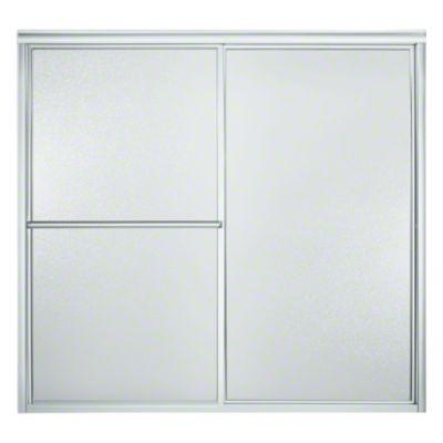 "Deluxe Sliding Bath Door - Height 56-1/4"", Max. Opening 59-3/8"" - Silver with Pebbled Glass Texture"